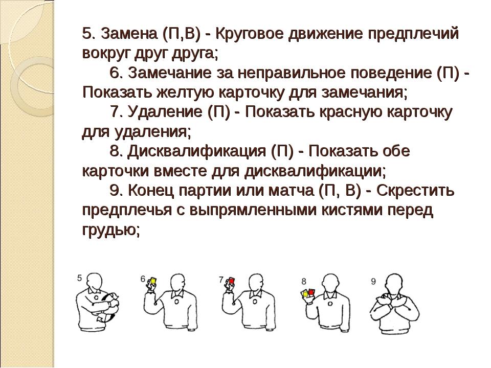 5. Замена (П,В) - Круговое движение предплечий вокруг друг друга; 6. За...