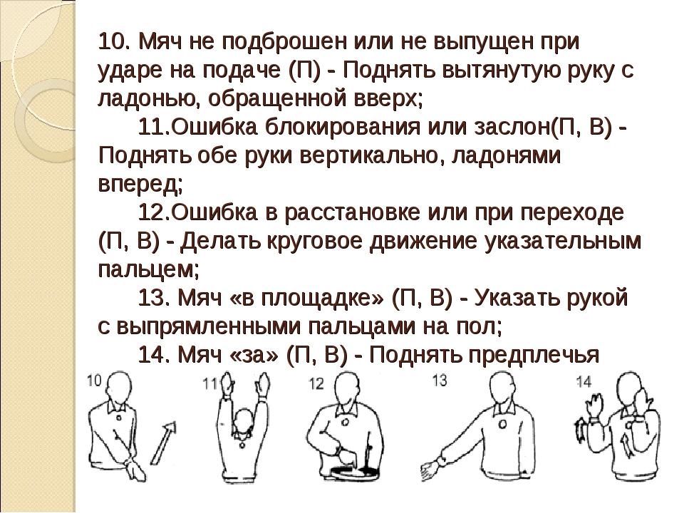 10. Мяч не подброшен или не выпущен при ударе на подаче (П) - Поднять вытянут...