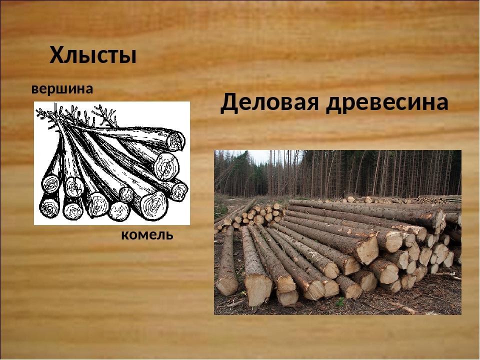 Деловая древесина Хлысты комель вершина