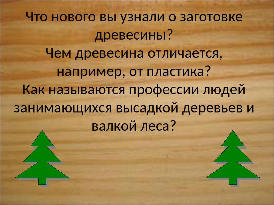 Что нового вы узнали о заготовке древесины? Чем древесина отличается, наприме...