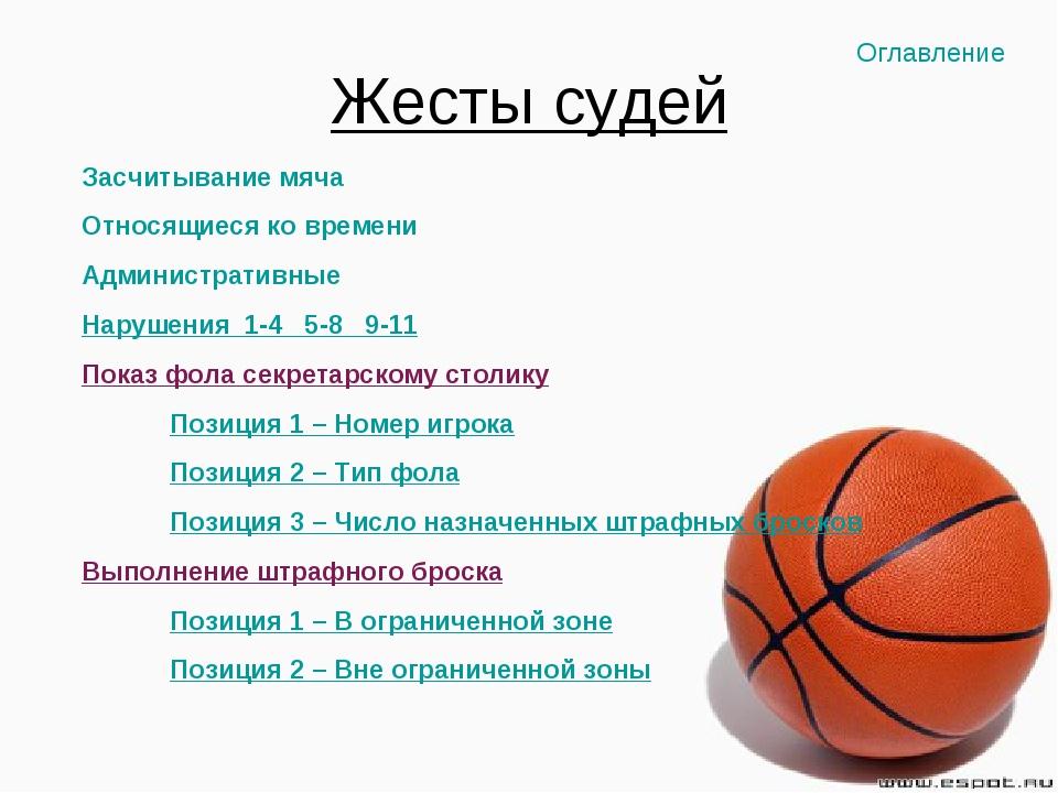 Жесты судей Засчитывание мяча Относящиеся ко времени Административные Нарушен...