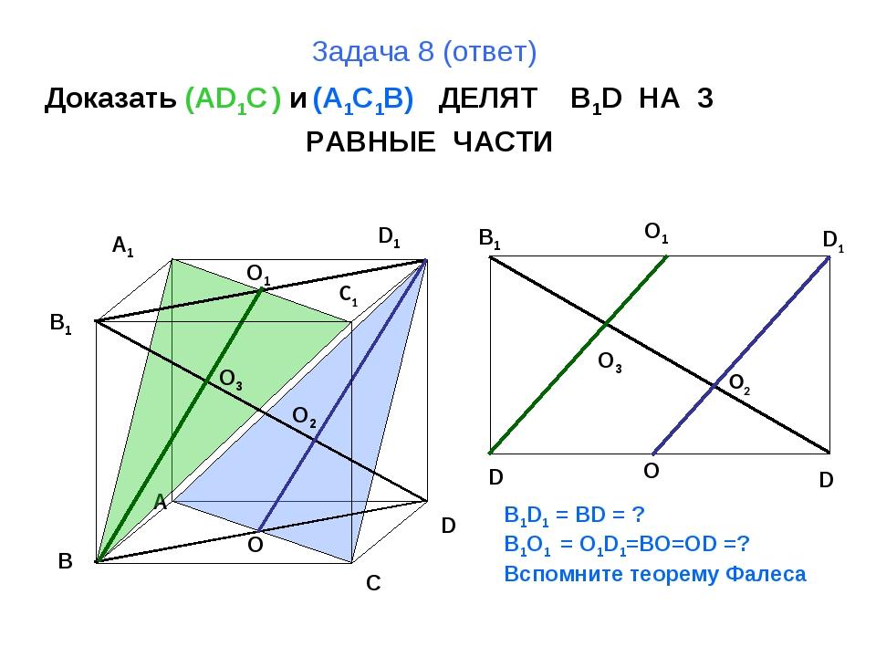 Задача 8 (ответ) Доказать (AD1C ) и (A1C1B) ДЕЛЯТ B1D НА 3 РАВНЫЕ ЧАСТИ B A D...