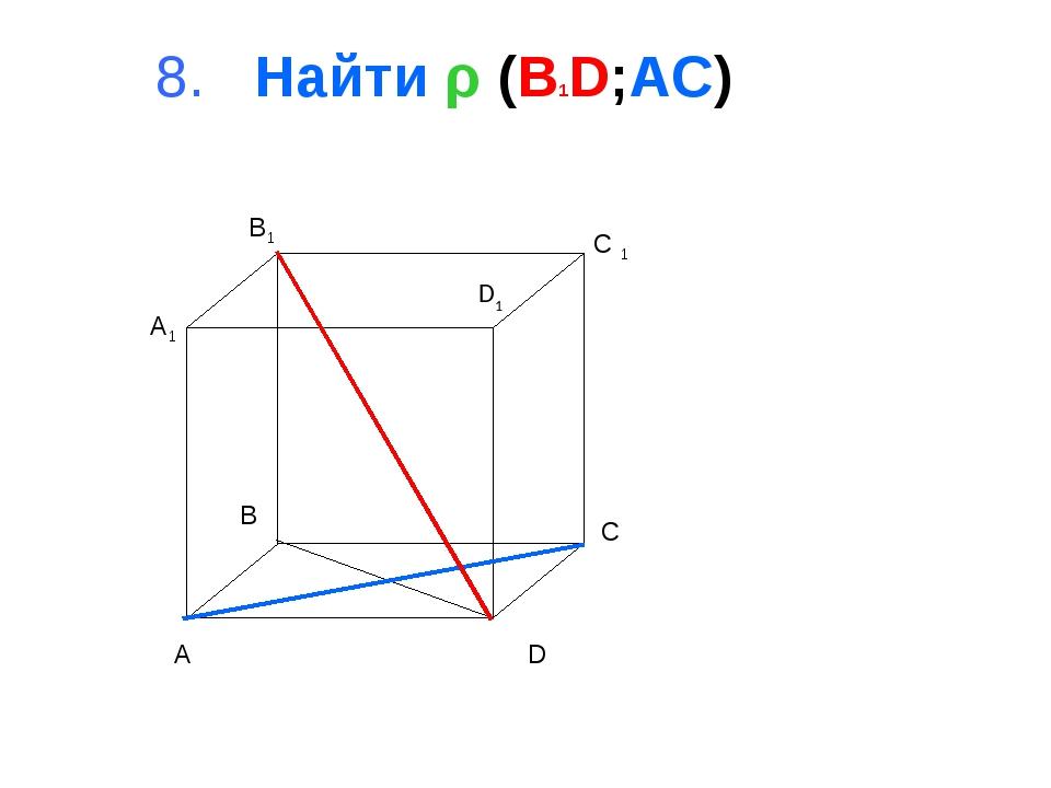 8. Найти ρ (B1D;AC) A B C D A1 B1 C 1 D1