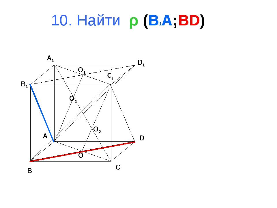 10. Найти ρ (B1A;BD) B A D C B1 A1 D1 C1 O1 O O3 O2