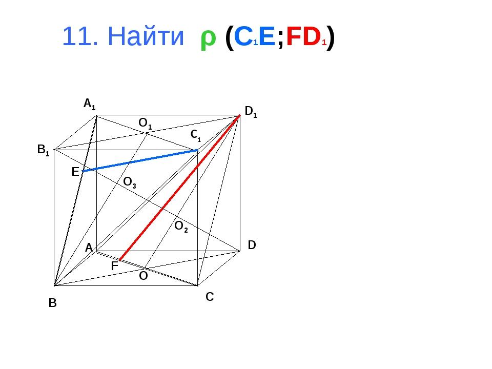 11. Найти ρ (C1E;FD1) B D C B1 A1 D1 C1 O1 O O3 O2 A F E