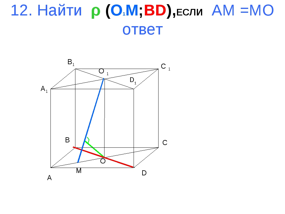 12. Найти ρ (O1M;BD),ЕСЛИ AM =MO ответ A B C D A1 B1 C 1 D1 O 1 O M