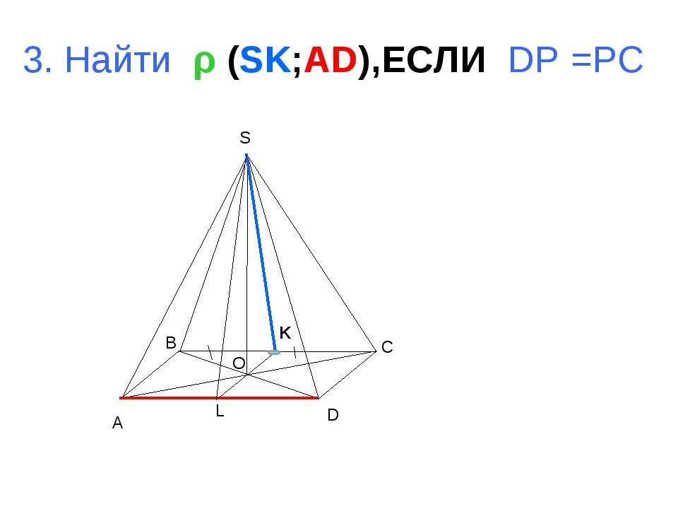 A B C D S O L 3. Найти ρ (SK;AD),ЕСЛИ DP =PC K