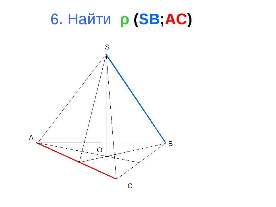 A B C S O 6. Найти ρ (SB;AC)