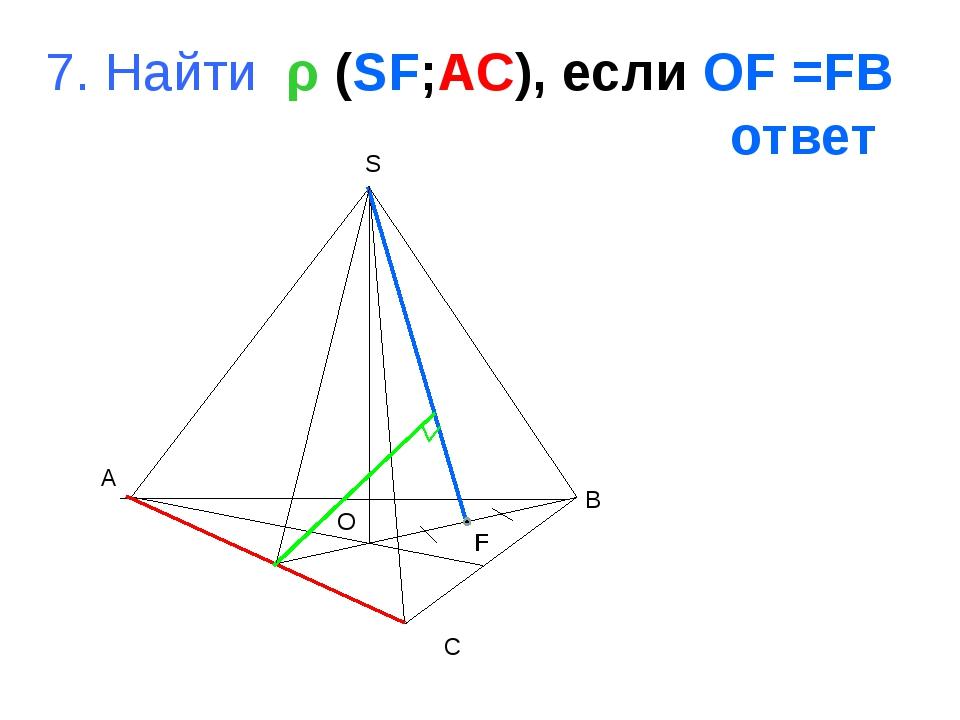 A B C S O 7. Найти ρ (SF;AC), если OF =FB ответ F