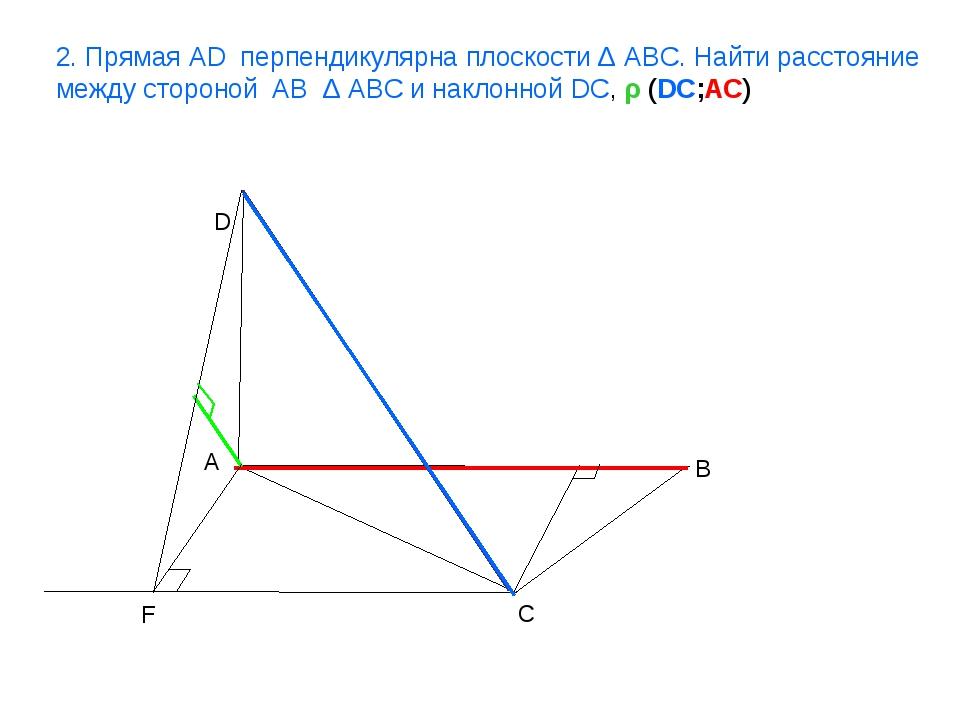 A B C D F 2. Прямая AD перпендикулярна плоскости Δ ABC. Найти расстояние межд...