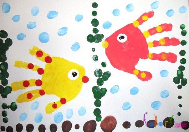 Картинки рисование рыбки ладошкой что именно