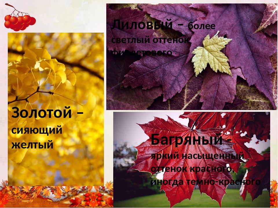 Лиловый – более светлый оттенок фиолетового Золотой – сияющий желтый Багряный...