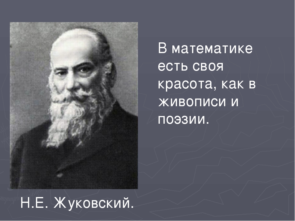 В математике есть своя красота, как в живописи и поэзии. Н.Е. Жуковский.