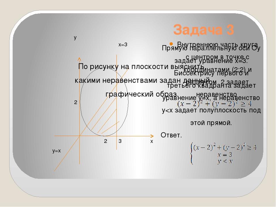 Задача 3 Внутреннюю часть круга с центром в точке с координатами (2;2) и ради...
