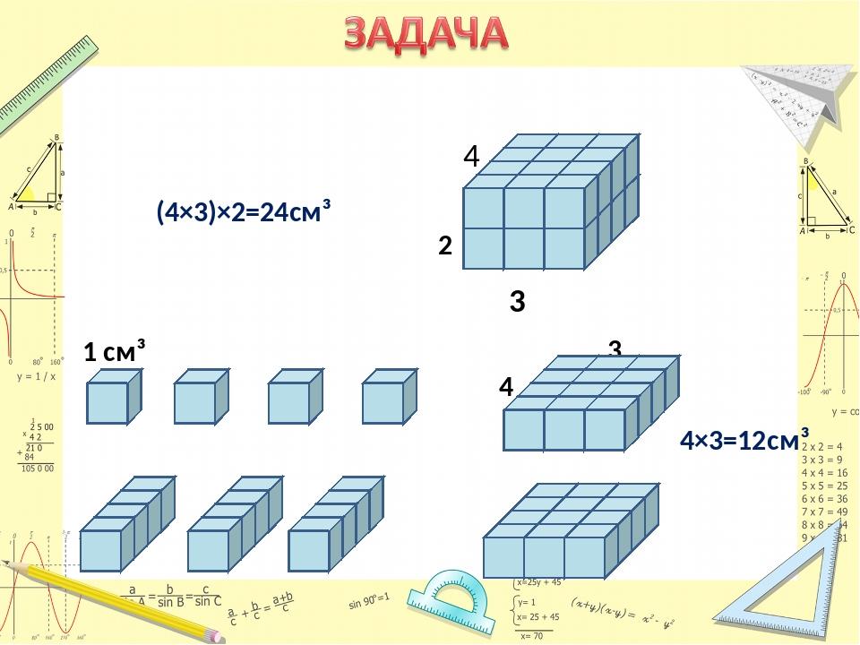 1 см³ 4 3 3 3 2 4×3=12cм³ (4×3)×2=24см³ 4