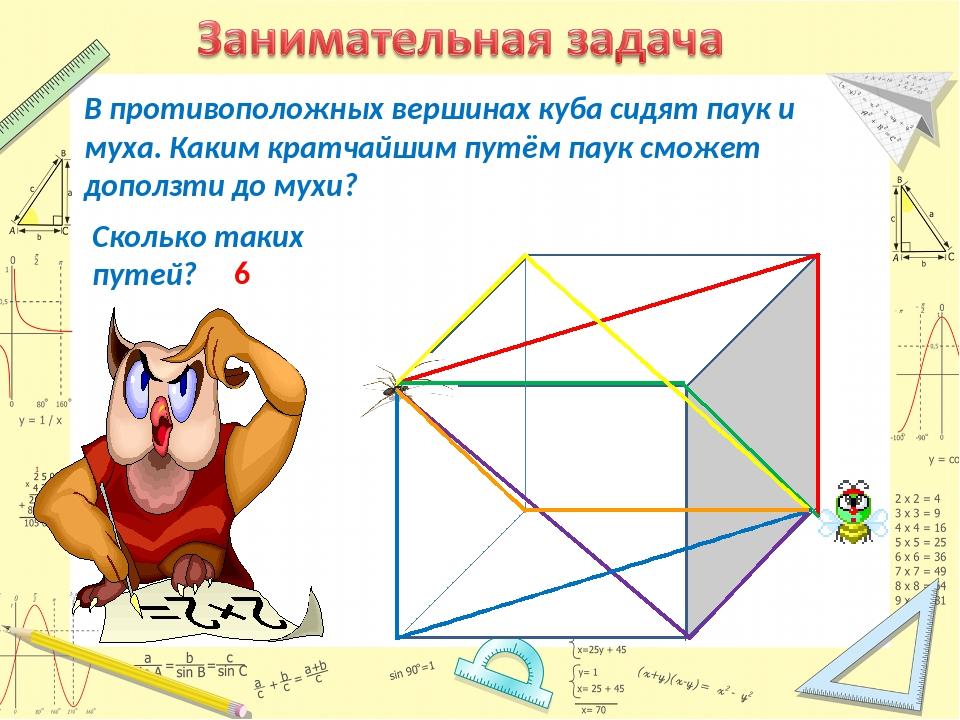 В противоположных вершинах куба сидят паук и муха. Каким кратчайшим путём пау...