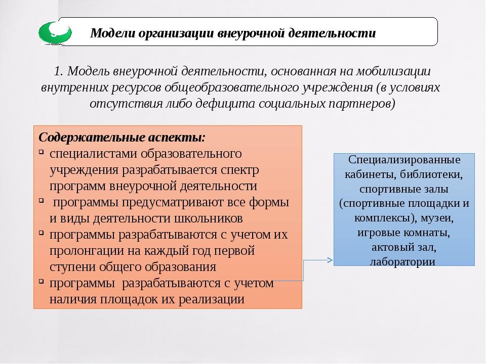 1. Модель внеурочной деятельности, основанная на мобилизации внутренних ресур...