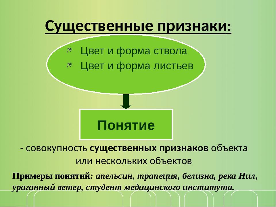 Существенные признаки: - совокупность существенных признаков объекта или неск...