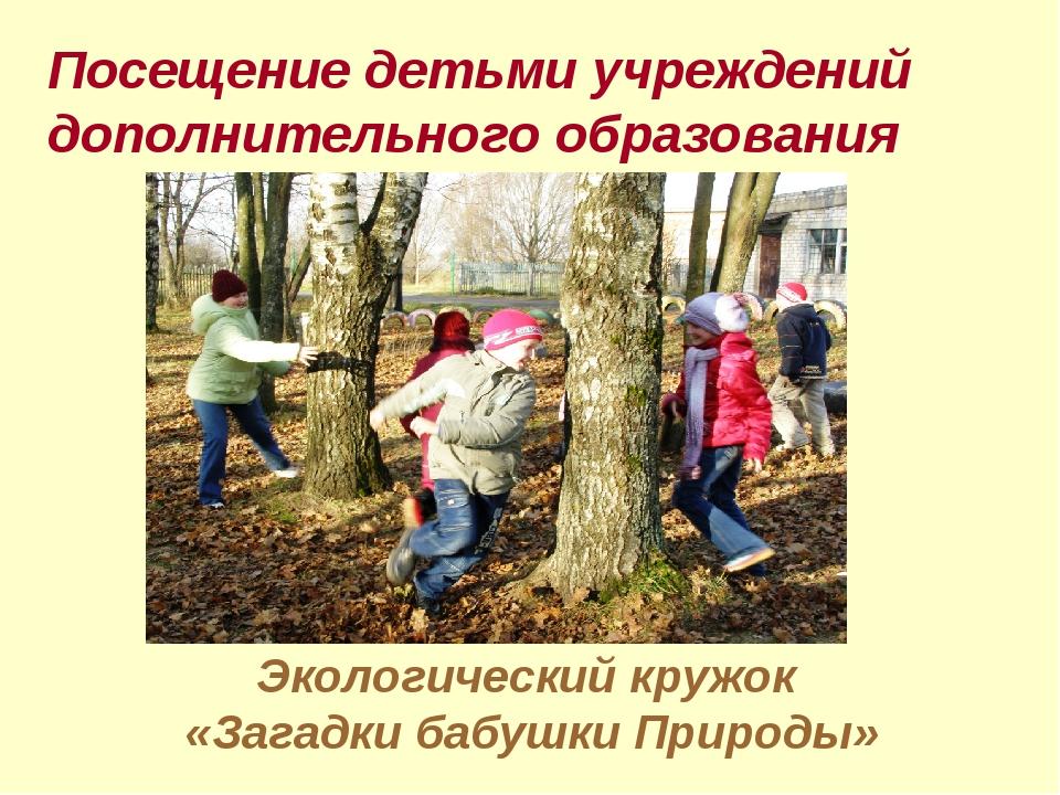 Экологический кружок «Загадки бабушки Природы» Посещение детьми учреждений до...