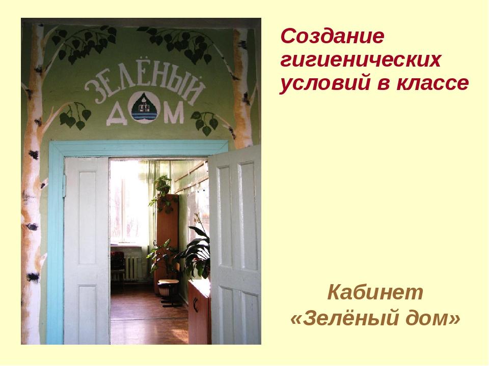 Кабинет «Зелёный дом» Создание гигиенических условий в классе