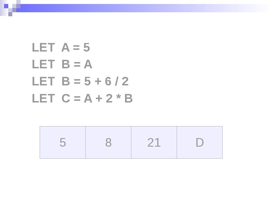LET A = 5 LET B = A LET B = 5 + 6 / 2 LET C = A + 2 * B A B C D 5 B C D 5 5 C...