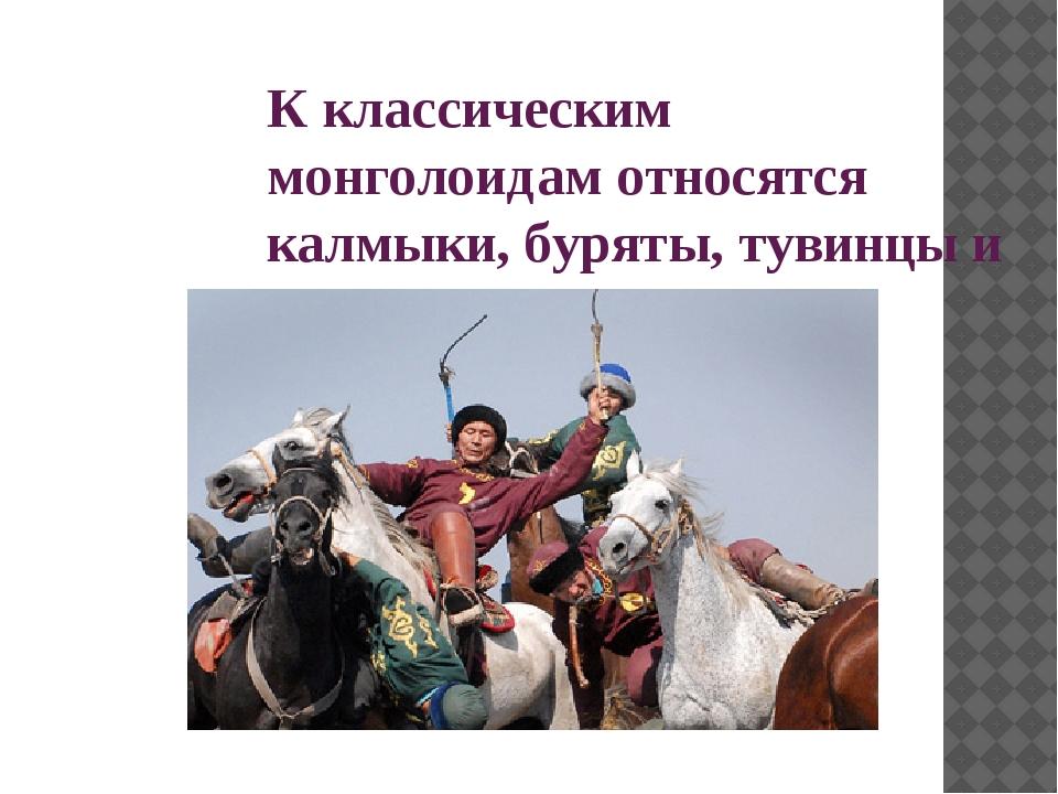 К классическим монголоидам относятся калмыки, буряты, тувинцы и якуты.