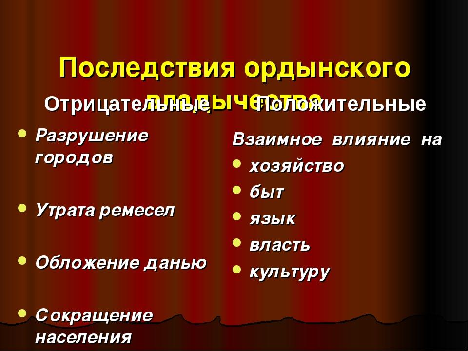Последствия ордынского владычества Отрицательные Разрушение городов Утрата р...