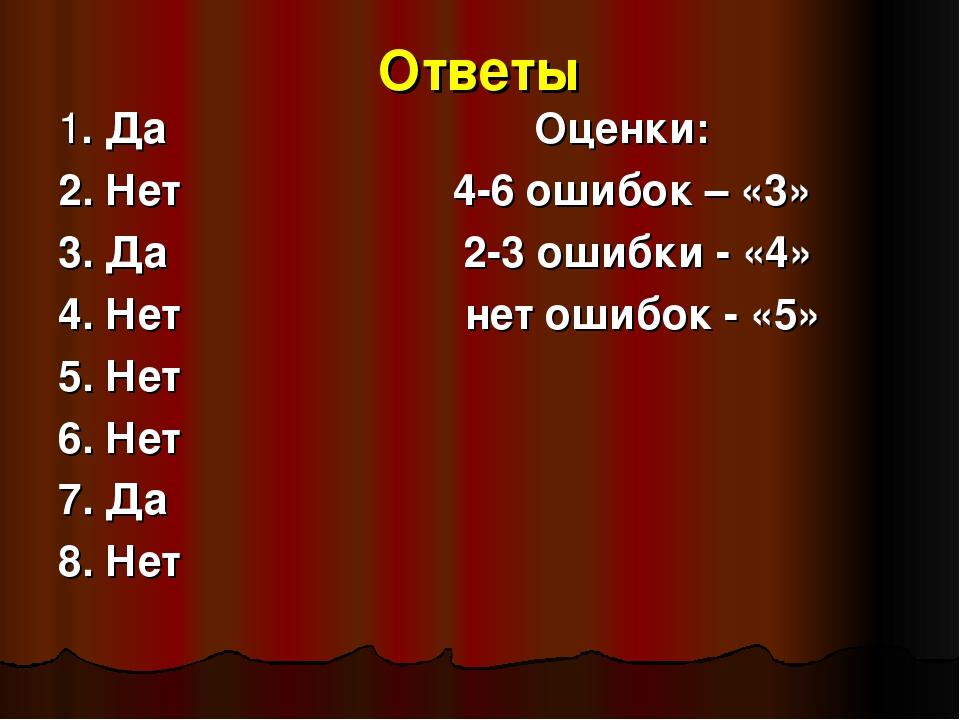 Ответы 1. Да Оценки: 2. Нет 4-6 ошибок – «3» 3. Да 2-3 ошибки - «4» 4. Нет не...