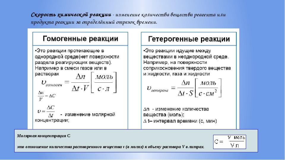 Скорость химической реакции - изменение количества вещества реагента или прод...