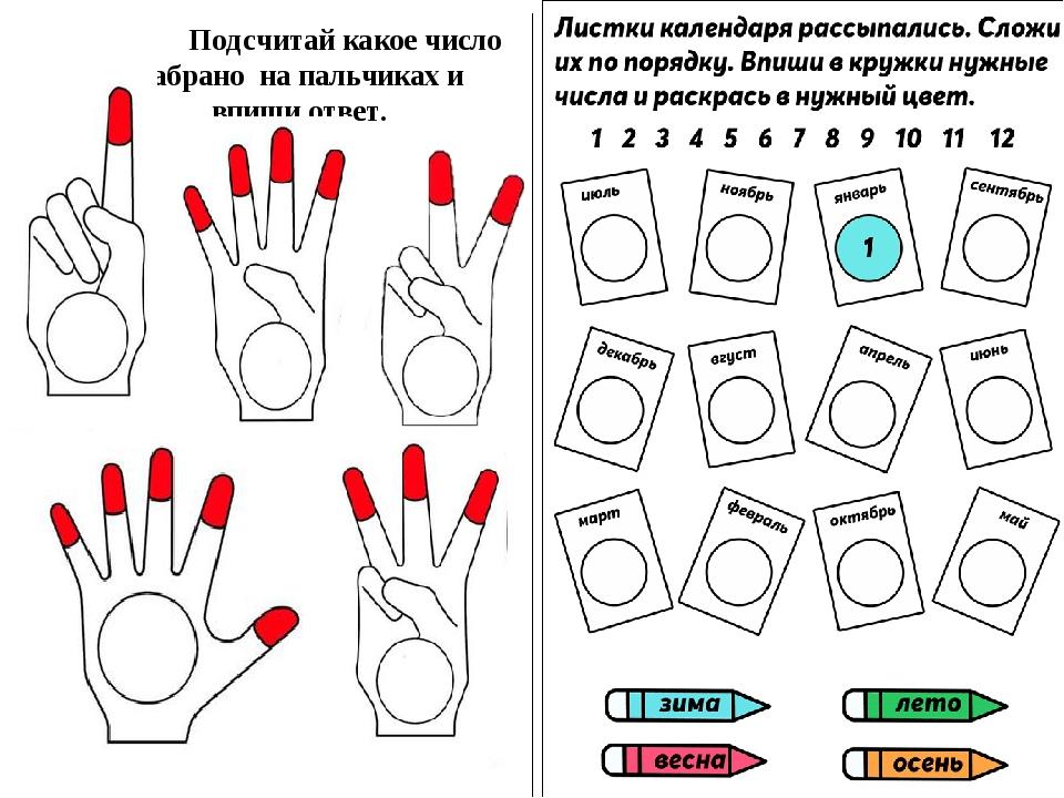 Подсчитай какое число набрано на пальчиках и впиши ответ.