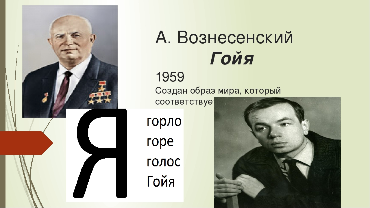 А. Вознесенский Гойя 1959 Создан образ мира, который соответствует историчес...