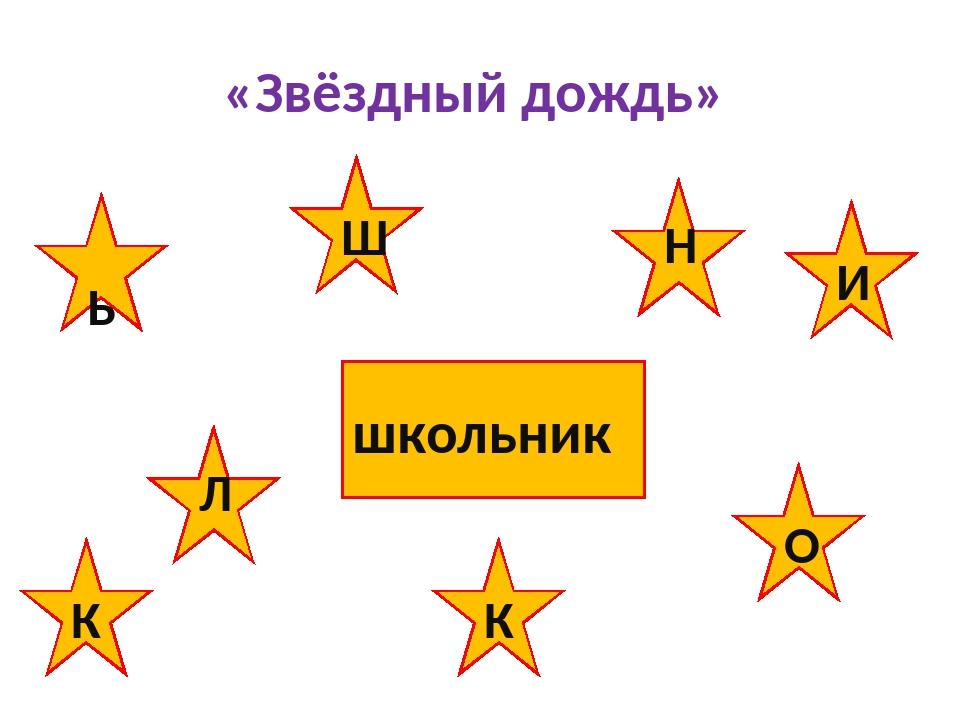 «Звёздный дождь» К школьник Ш И Н Л О Ь К
