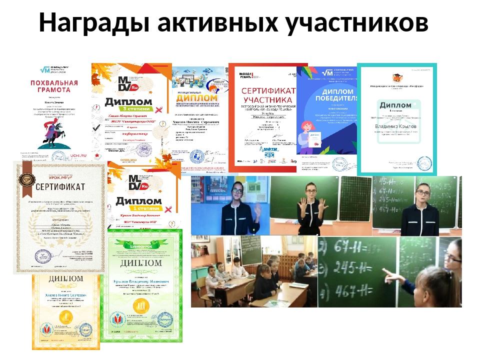Награды активных участников