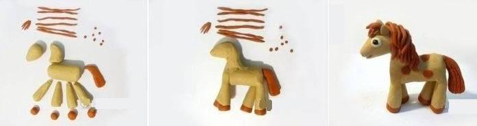 пайетками картинки как слепить из пластилина лошадь поэтапно который младше
