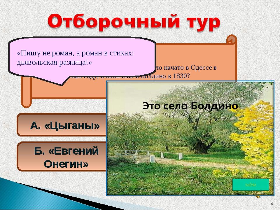 Какое произведение А.С.Пушкина было начато в Одессе в 1823 году, а окончено в...