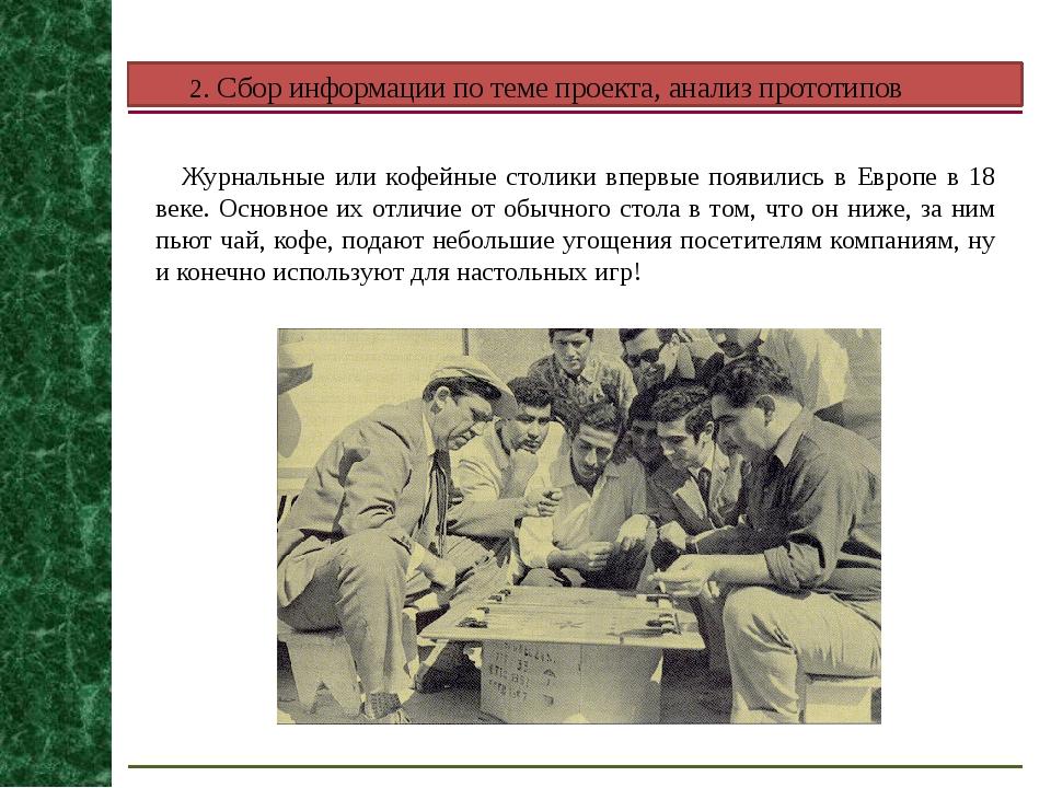 2. Сбор информации по теме проекта, анализ прототипов Журнальные или кофейные...