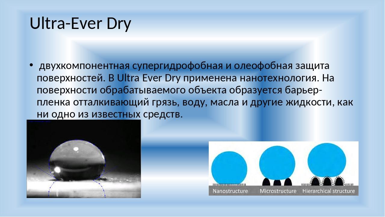 Ultra-Ever Dry двухкомпонентная супергидрофобная и олеофобная защита поверхно...