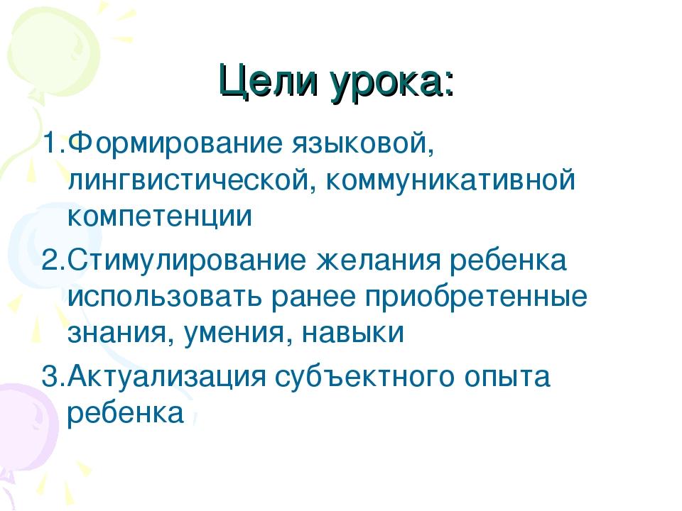 Цели урока: 1.Формирование языковой, лингвистической, коммуникативной компете...