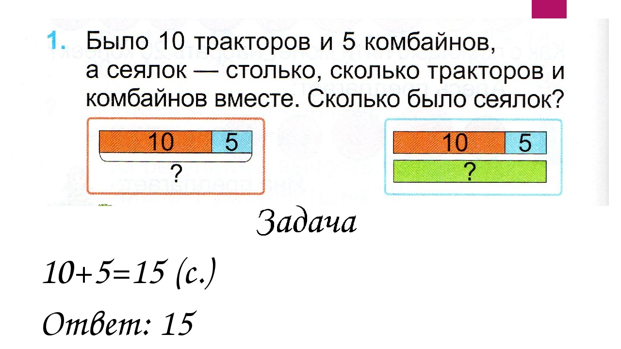 10+5=15 (с.) Ответ: 15 сеялок.