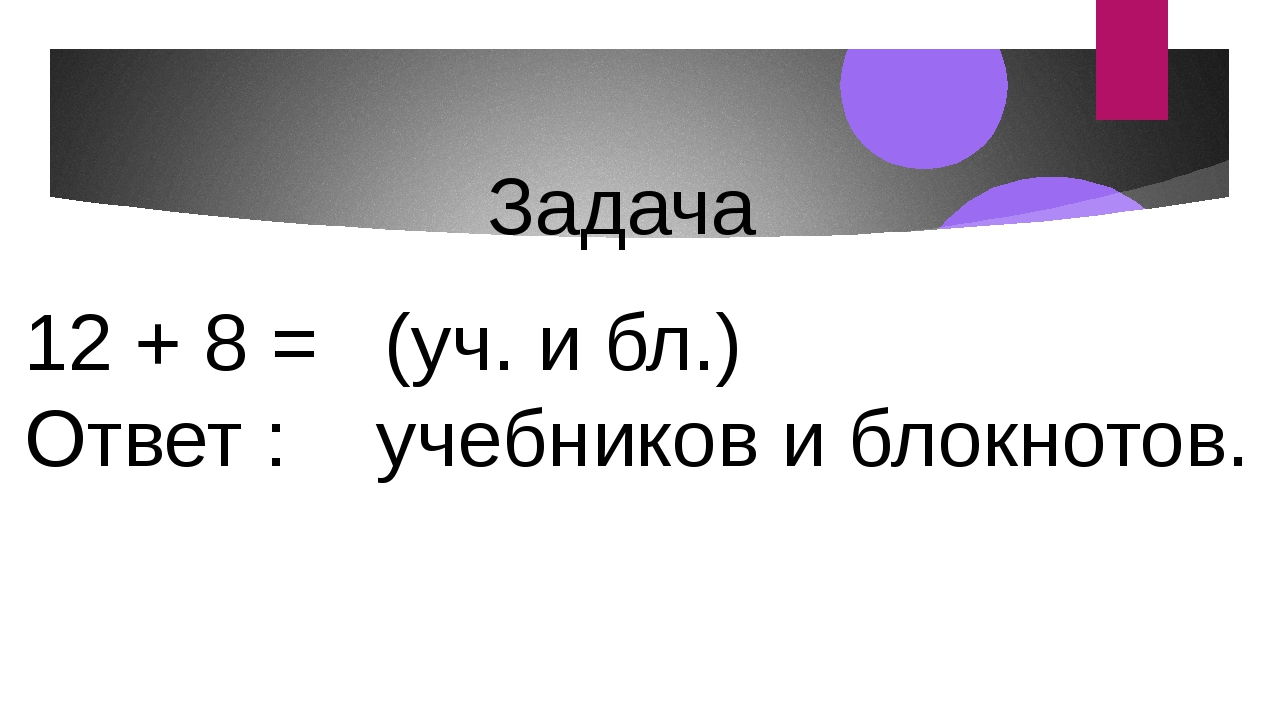 12 + 8 = (уч. и бл.) Ответ : учебников и блокнотов. Задача