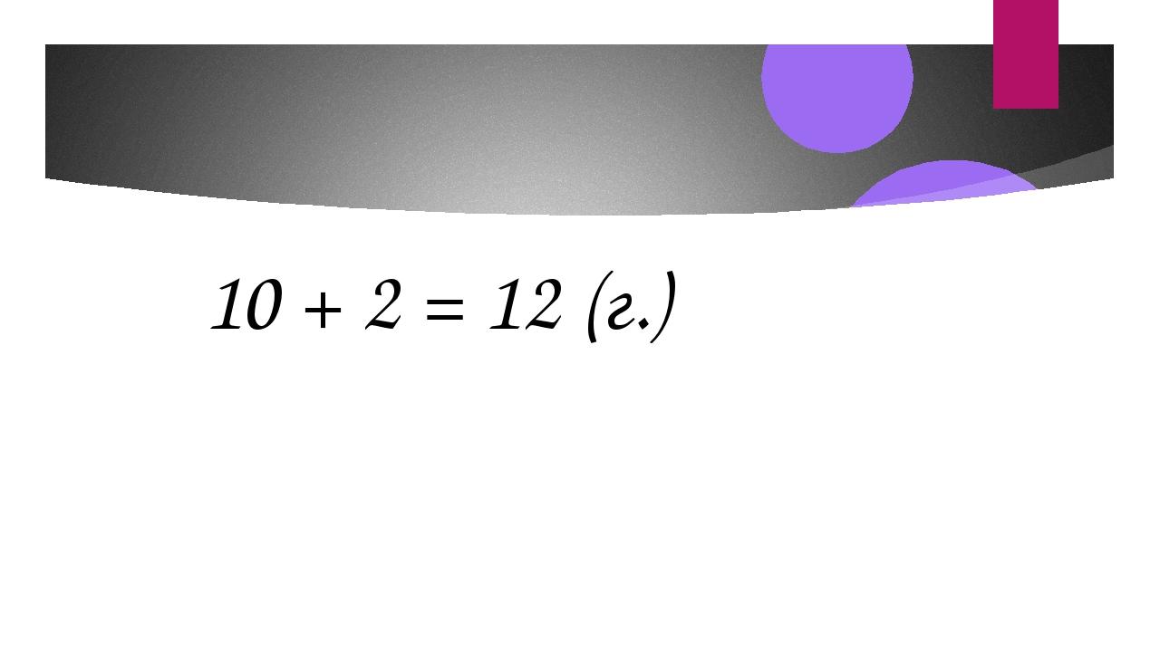 10 + 2 = 12 (г.)