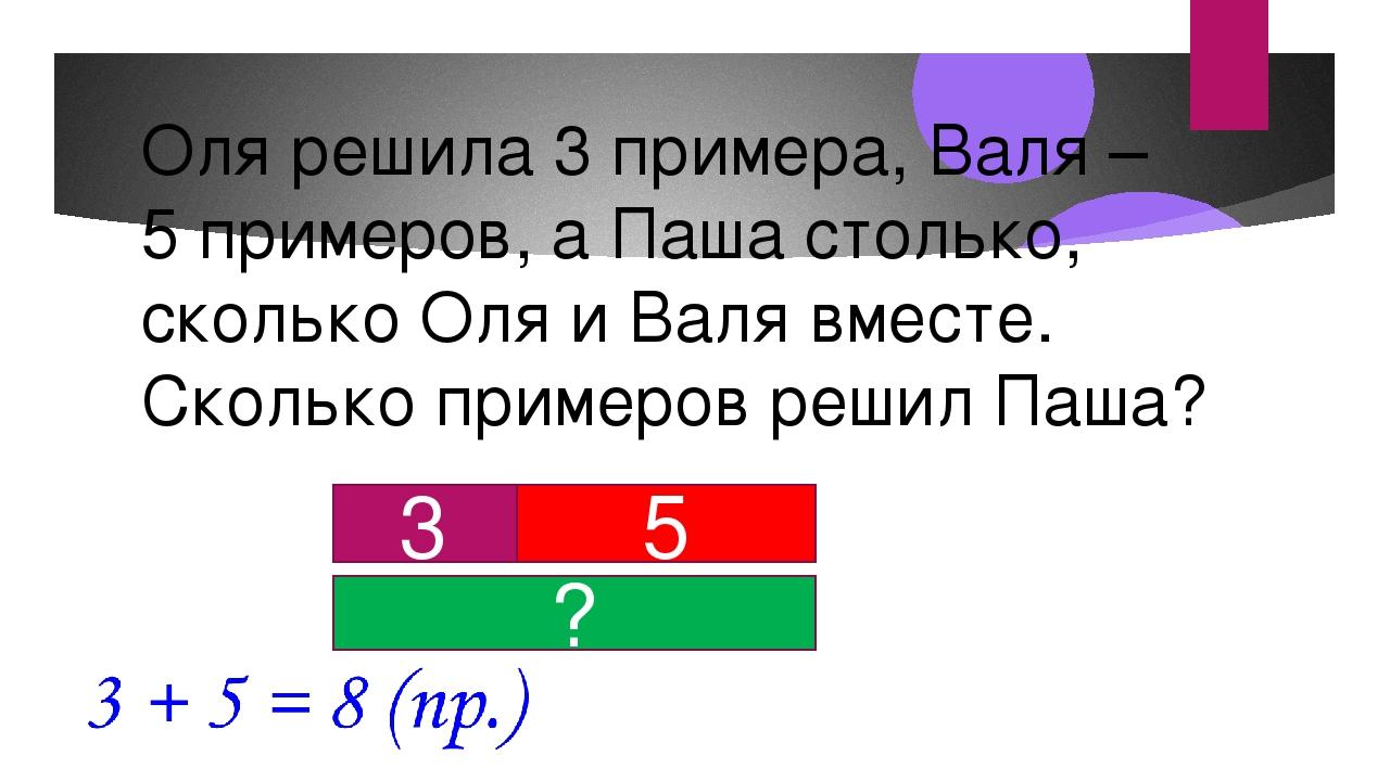 Оля решила 3 примера, Валя – 5 примеров, а Паша столько, сколько Оля и Валя в...