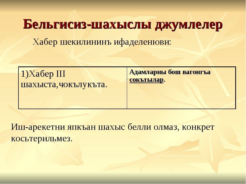 Бельгисиз-шахыслы джумлелер Хабер шекилининъ ифаделенюви: Иш-арекетни япкъан...