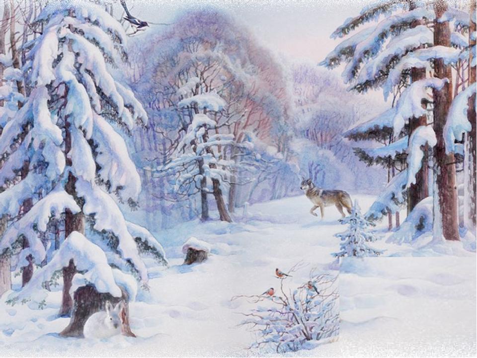 Рисунок лес зимой для детей