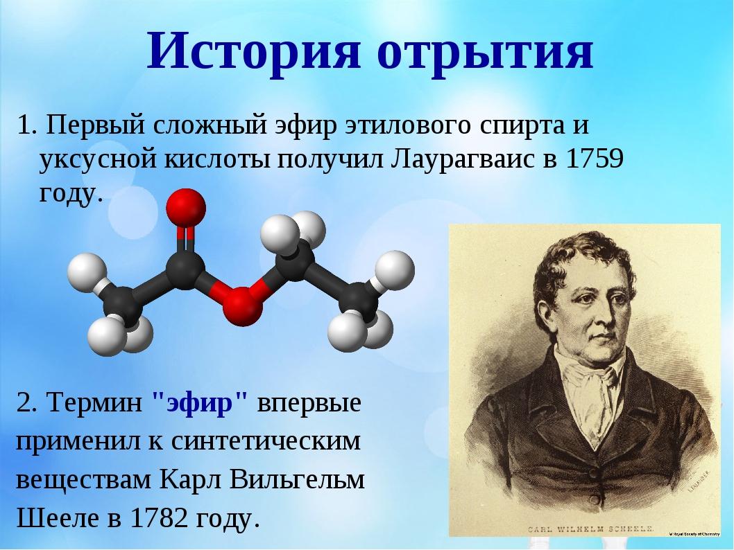 История отрытия 1. Первый сложный эфир этилового спирта и уксусной кислоты по...