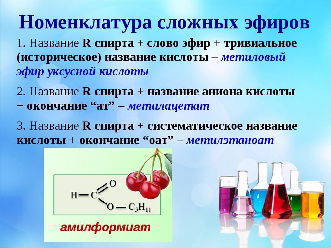 Номенклатура сложных эфиров 1. Название R спирта + слово эфир + тривиальное (...