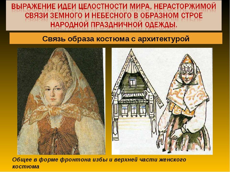 Общее в форме фронтона избы и верхней части женского костюма Связь образа кос...