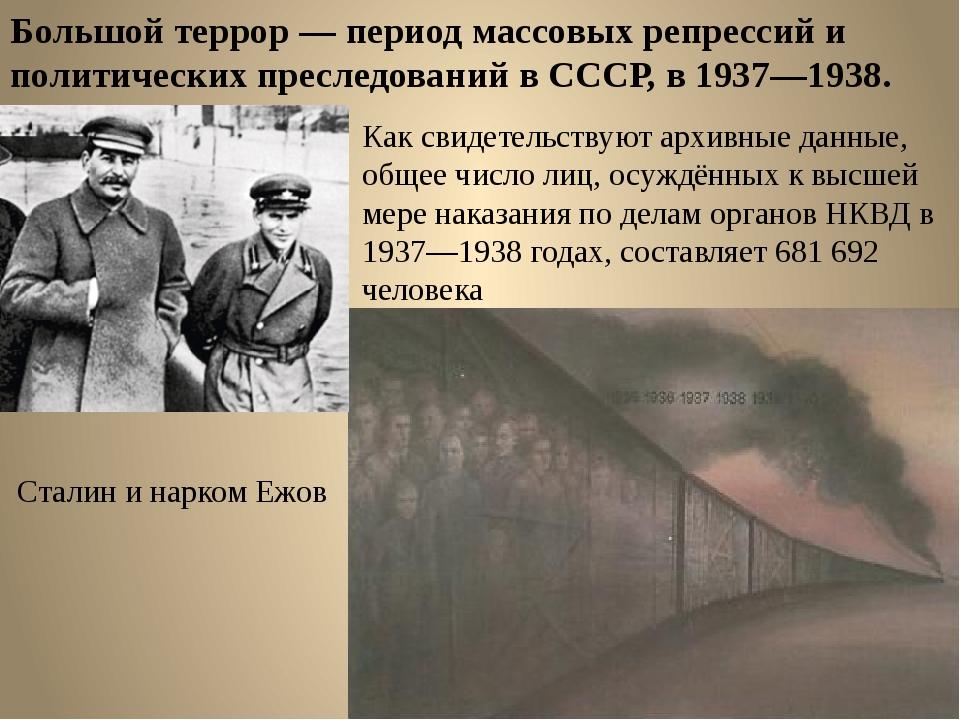Большой террор — период массовых репрессий и политических преследований в ССС...