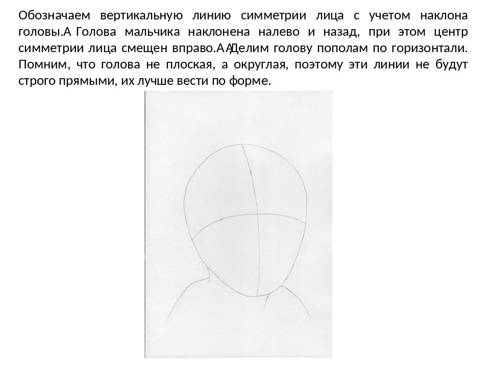 Обозначаем вертикальную линию симметрии лица с учетом наклона головы. Голова...