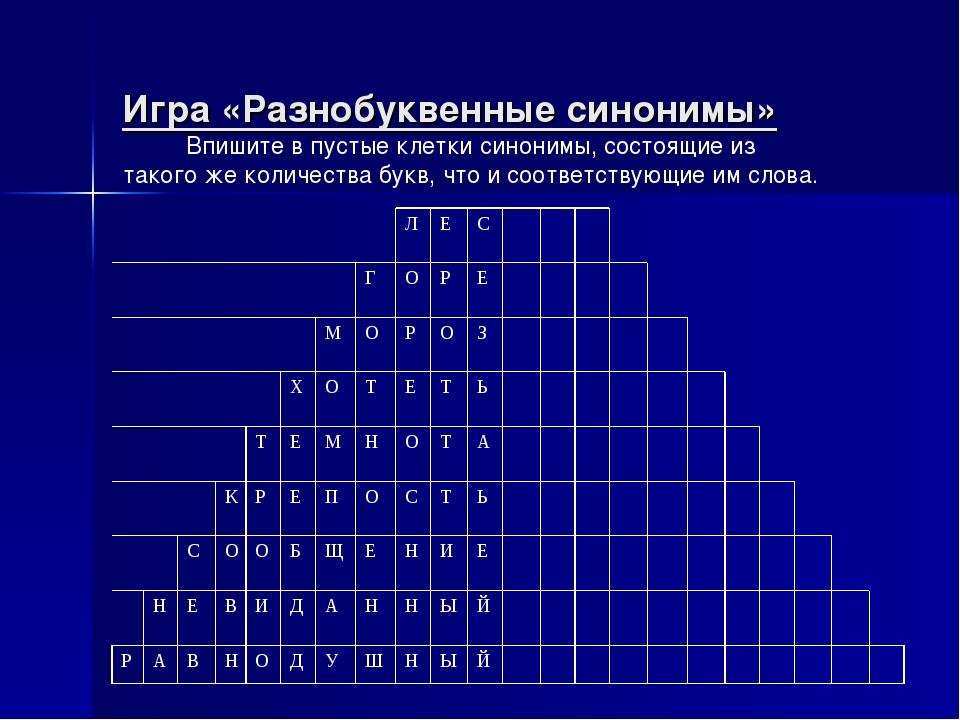 Игра «Разнобуквенные синонимы» Впишите в пустые клетки синонимы, состоящие из...